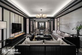 2018三居客厅中式装修实景图三居中式现代家装装修案例效果图