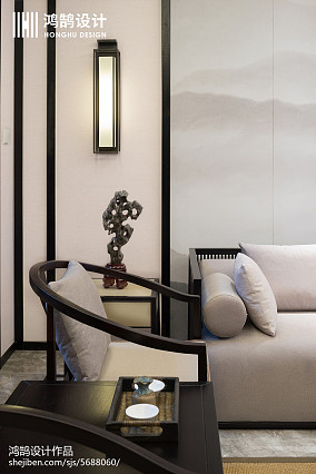 2018精选97平米三居客厅中式实景图片三居中式现代家装装修案例效果图