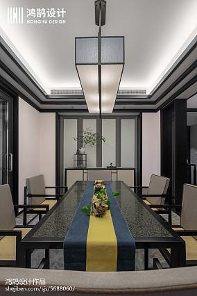 2018面积105平中式三居餐厅效果图三居中式现代家装装修案例效果图