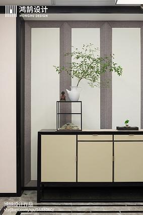 热门99平米三居玄关中式实景图三居中式现代家装装修案例效果图