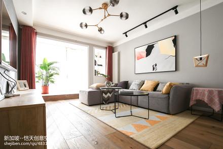 简单现代二居客厅设计实景图