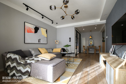 简单现代二居客厅吊灯设计图二居现代简约家装装修案例效果图