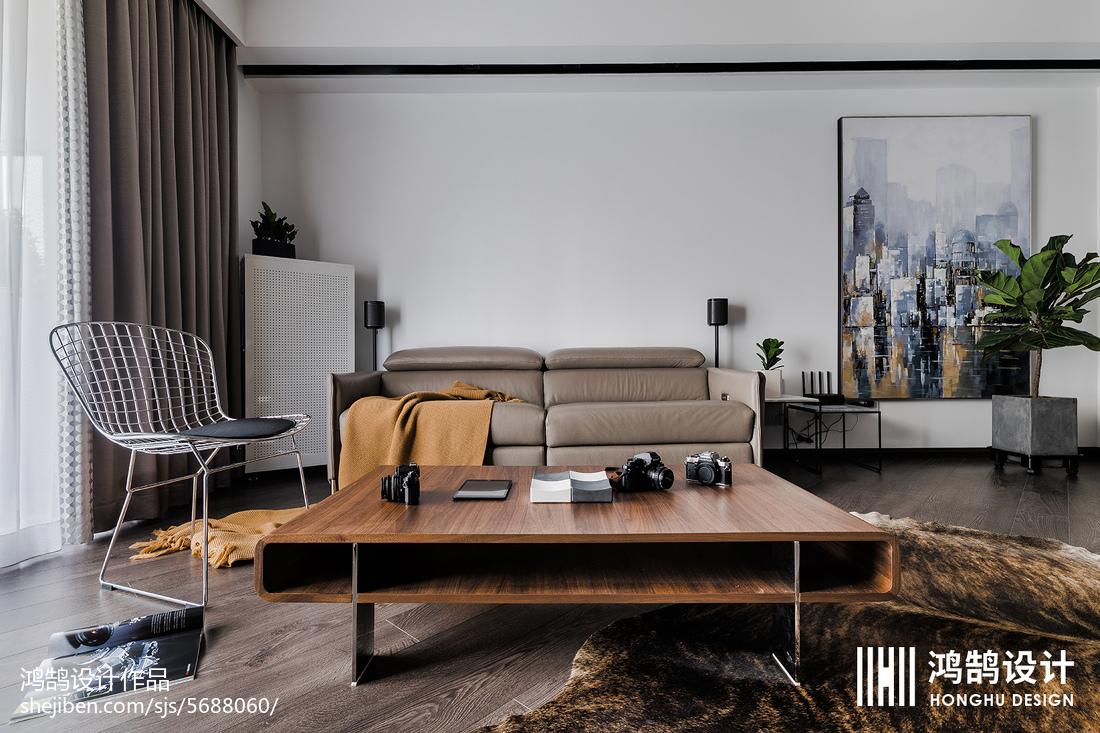 150平工业风客厅设计实景图三居现代简约家装装修案例效果图