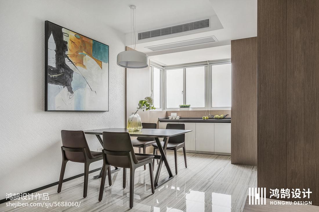 质朴94平现代三居餐厅装修案例厨房现代简约餐厅设计图片赏析