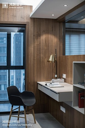 平米三居书房现代装修实景图片欣赏三居现代简约家装装修案例效果图
