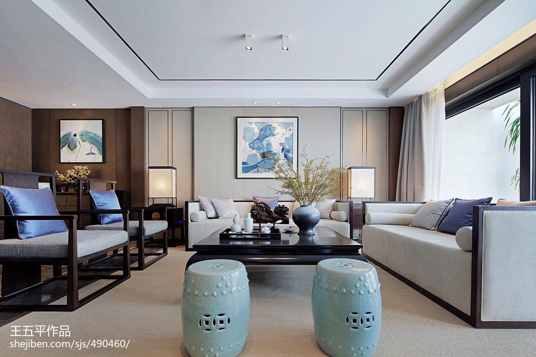 2018精选133平方中式别墅客厅实景图片别墅豪宅中式现代家装装修案例效果图