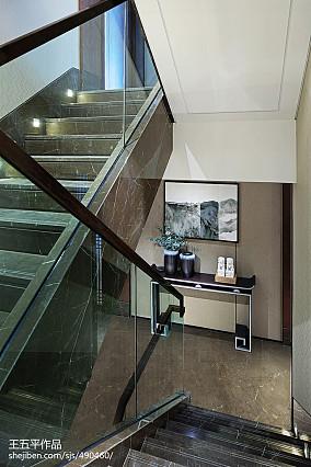 独栋别墅样板房楼梯设计图别墅豪宅中式现代家装装修案例效果图