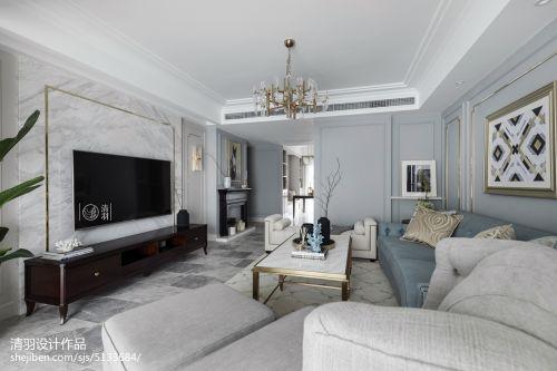 美式四居客厅实景图客厅电视背景墙151-200m²四居及以上美式经典家装装修案例效果图