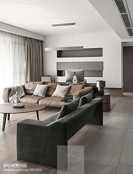 优美112平简约三居客厅装饰图