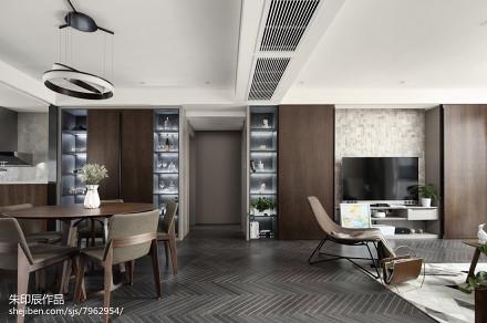 质朴160平现代复式客厅效果图复式现代简约家装装修案例效果图