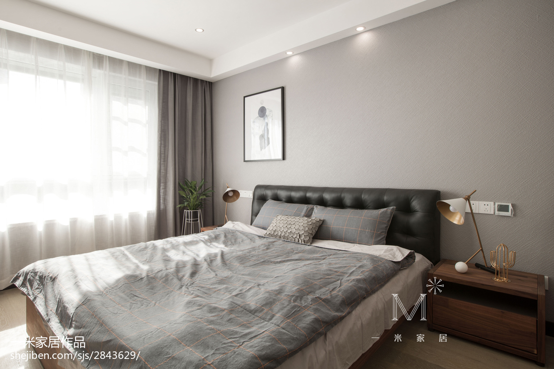 轻奢130平北欧四居卧室装修图卧室窗帘北欧极简卧室设计图片赏析