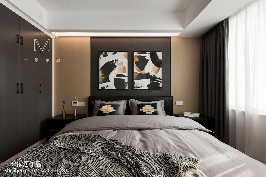 现代三居灰色系主卧设计图卧室现代简约卧室设计图片赏析