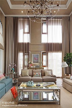 2018精选面积131平复式客厅美式效果图片欣赏