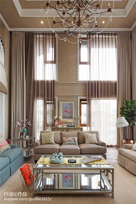 2018精选面积131平复式客厅美式效果图片欣赏复式美式经典家装装修案例效果图
