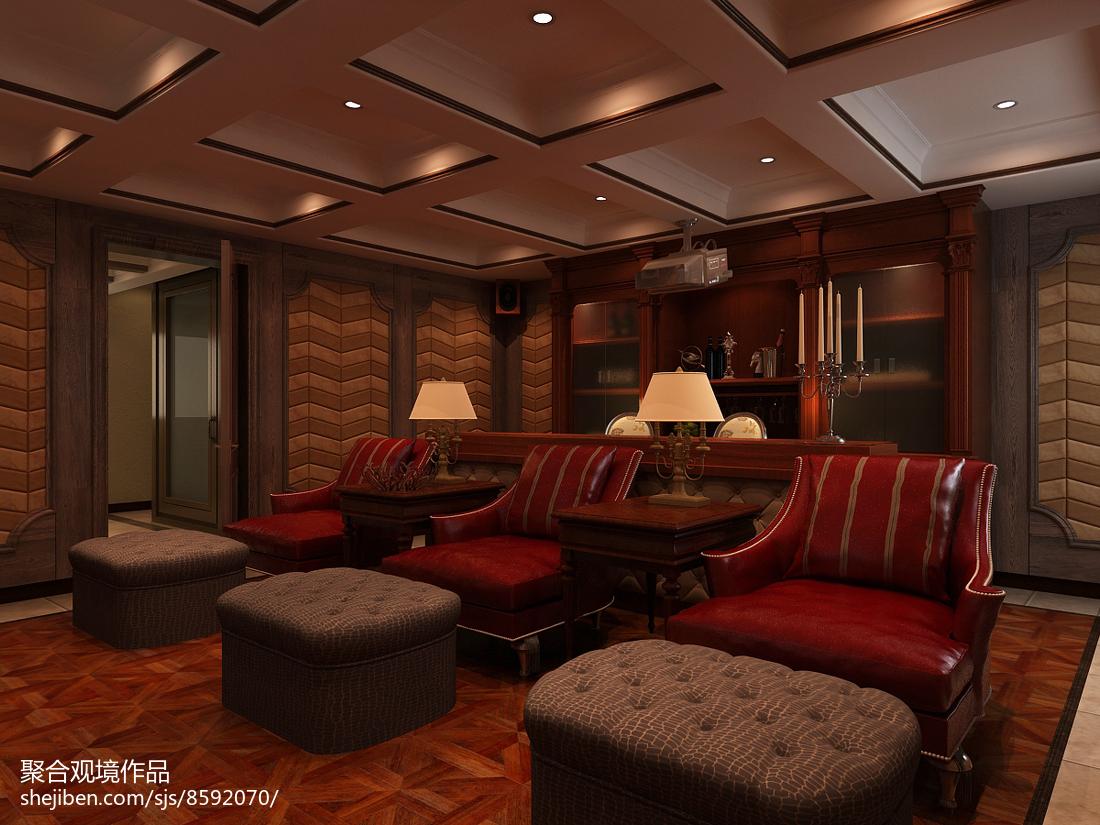美式书房沙发功能区美式经典功能区设计图片赏析