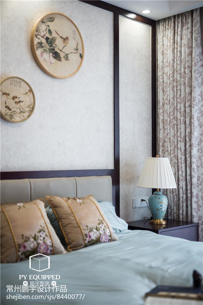 精美面积94平中式三居卧室装饰图片大全卧室中式现代卧室设计图片赏析