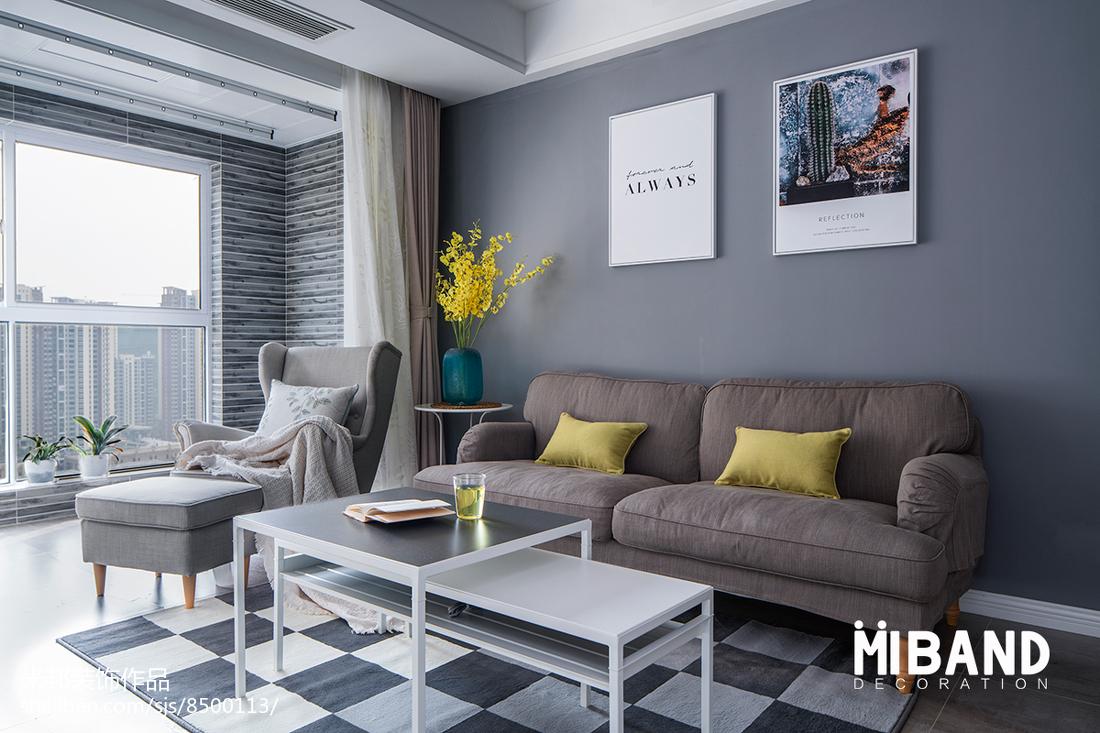 热门104平米三居客厅北欧欣赏图片大全客厅