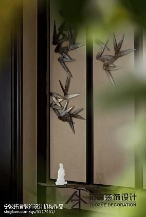 精选面积111平中式四居玄关装修欣赏图片四居及以上中式现代家装装修案例效果图