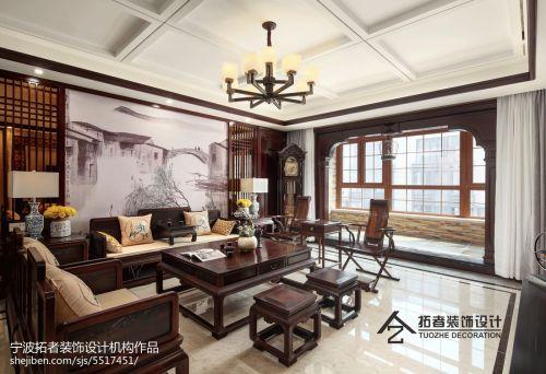 热门113平米四居客厅中式装饰图片大全客厅吊顶四居及以上家装装修案例效果图