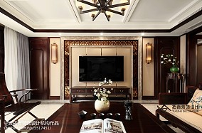 四居中式背景墙设计实景图四居及以上中式现代家装装修案例效果图