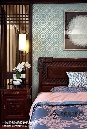 2018面积124平中式四居卧室效果图片大全四居及以上中式现代家装装修案例效果图
