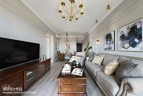 热门102平米三居客厅美式装修效果图片大全三居美式经典家装装修案例效果图
