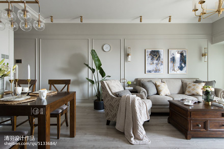 华丽114平美式三居客厅美图三居美式经典家装装修案例效果图