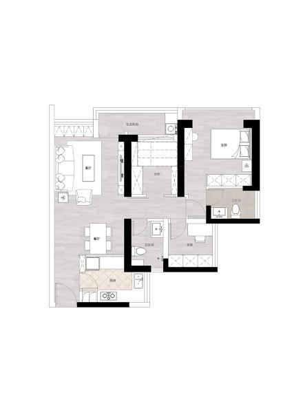 优美124平美式三居客厅装修案例