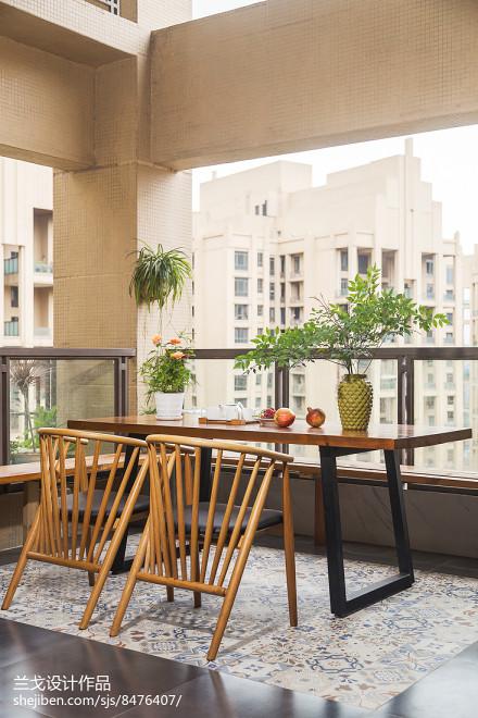 中式三居阳台装修效果图片阳台