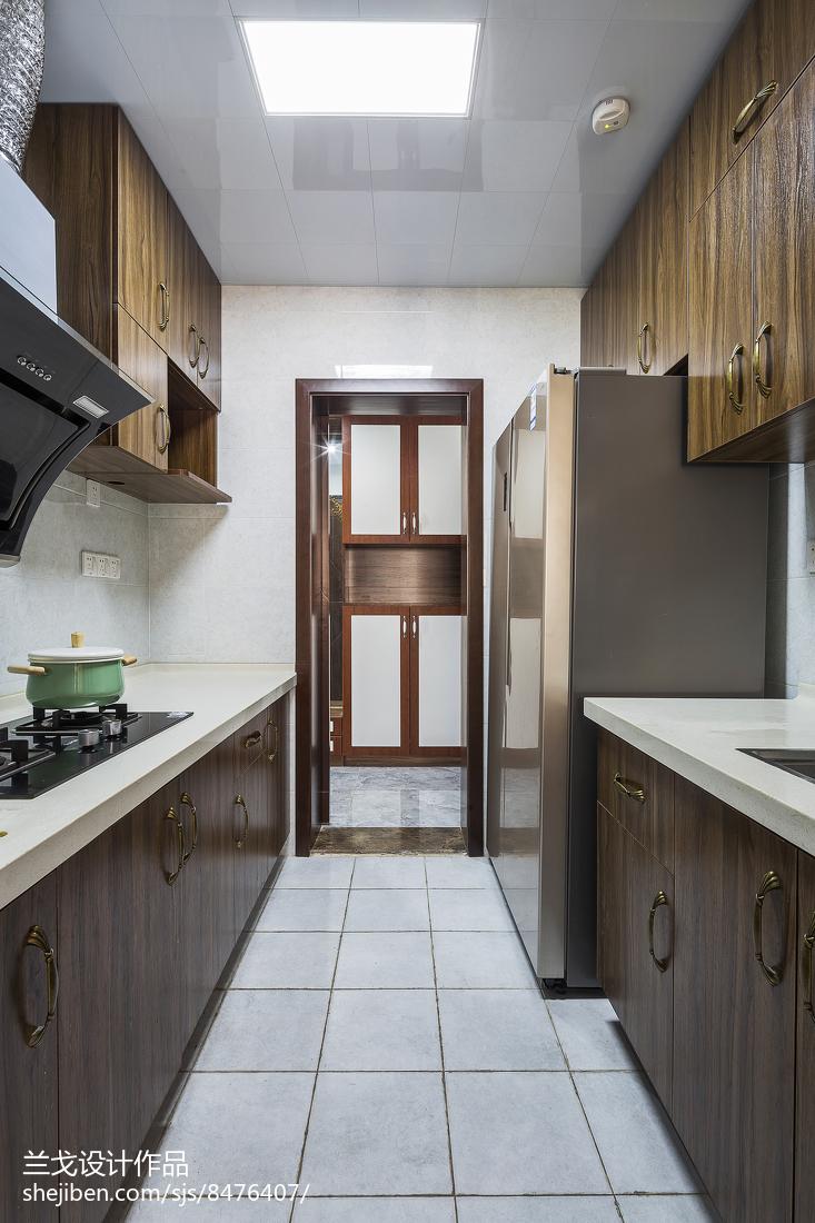 精美面积98平中式三居厨房装修设计效果图餐厅中式现代厨房设计图片赏析