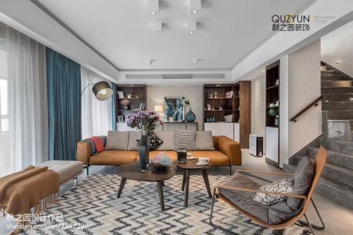热门复式客厅北欧装饰图片欣赏客厅窗帘201-500m²家装装修案例效果图
