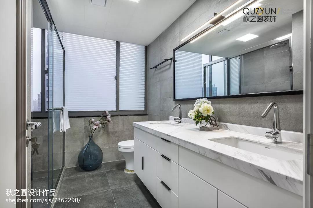2018大小138平现代四居卫生间装修实景图片欣赏卫生间现代简约卫生间设计图片赏析