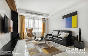 热门大小92平简约三居客厅装修效果图片三居现代简约家装装修案例效果图