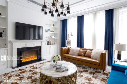 浪漫300平美式复式装修效果图客厅窗帘复式美式经典家装装修案例效果图