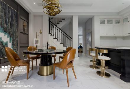 明亮70平美式复式餐厅效果图片大全厨房
