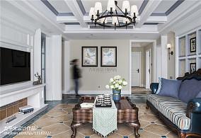 优雅165平美式四居客厅布置图