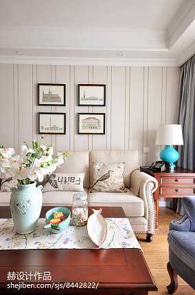 热门二居客厅美式装修设计效果图片