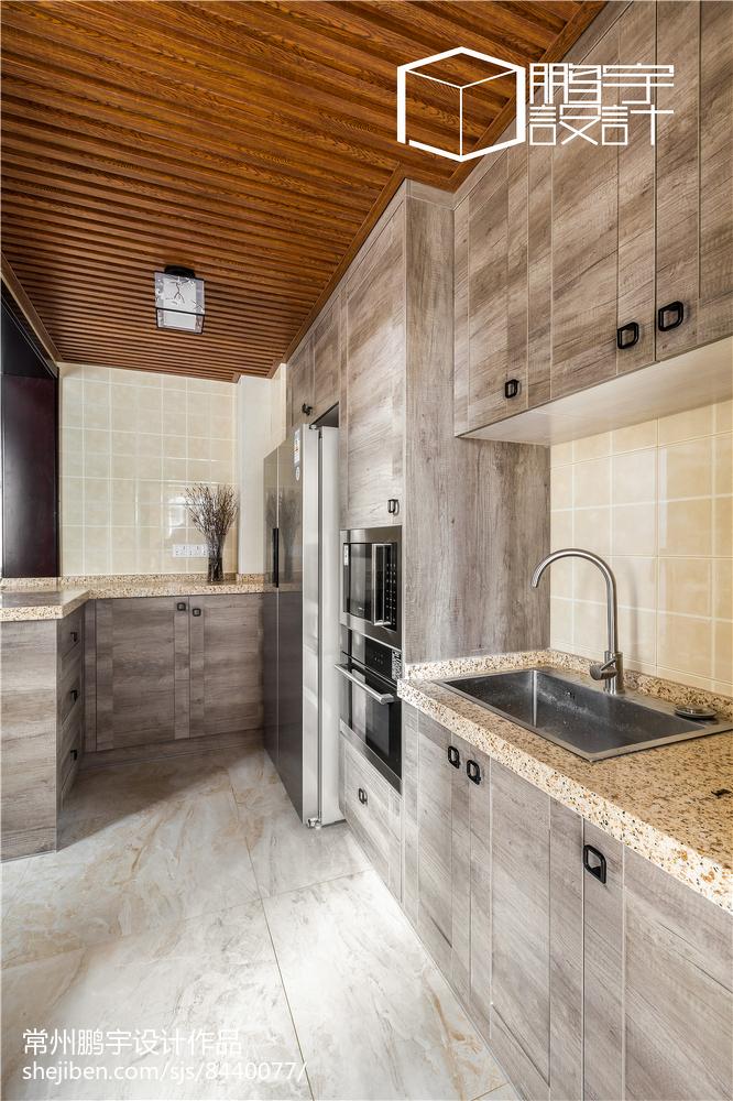 2018中式三居厨房装修效果图餐厅中式现代厨房设计图片赏析
