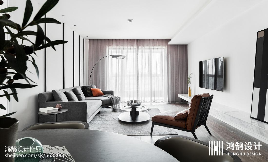平客厅三居现代装修效果图片大全三居现代简约家装装修案例效果图