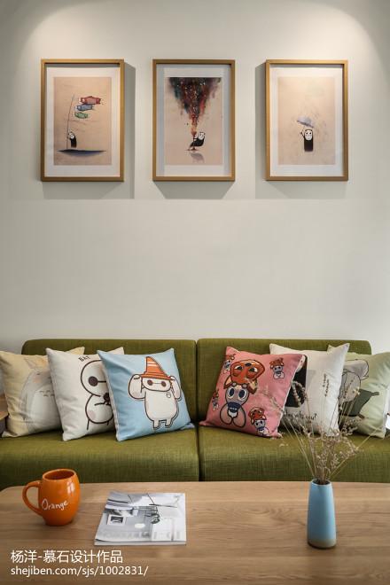 面积102平日式三居客厅装修效果图片欣赏