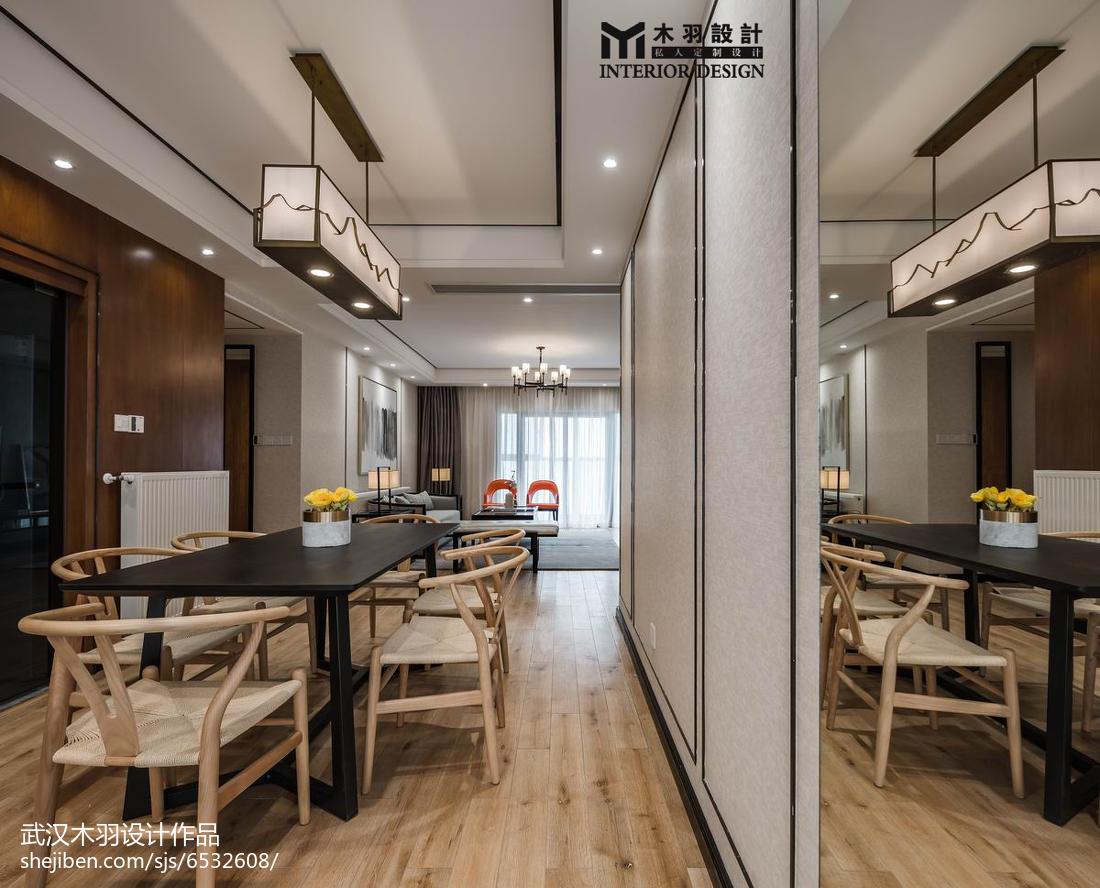 2018大小93平中式三居餐厅装修欣赏图片厨房木地板中式现代餐厅设计图片赏析