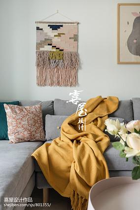 面积70平北欧二居客厅装修图片二居北欧极简家装装修案例效果图