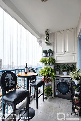 精美面积91平简欧三居阳台装修欣赏图片