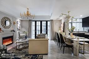 精美面积107平美式三居客厅效果图片三居美式经典家装装修案例效果图