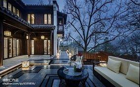 精致378平中式别墅花园实景图别墅豪宅中式现代家装装修案例效果图