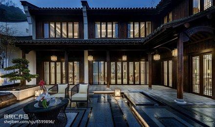 精美中式别墅花园实景图