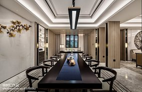 2018精选大小119平别墅餐厅中式装修设计效果图片别墅豪宅中式现代家装装修案例效果图
