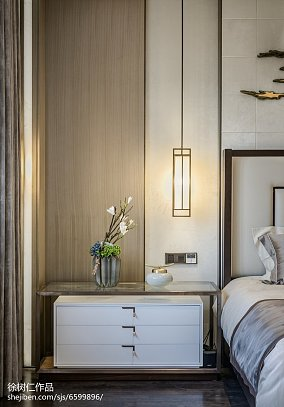 精选130平米中式别墅卧室实景图片欣赏别墅豪宅中式现代家装装修案例效果图