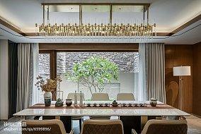 热门面积115平别墅餐厅中式装修设计效果图片别墅豪宅中式现代家装装修案例效果图