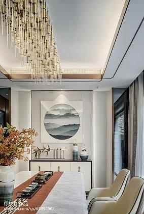 热门面积127平别墅餐厅中式欣赏图片别墅豪宅中式现代家装装修案例效果图